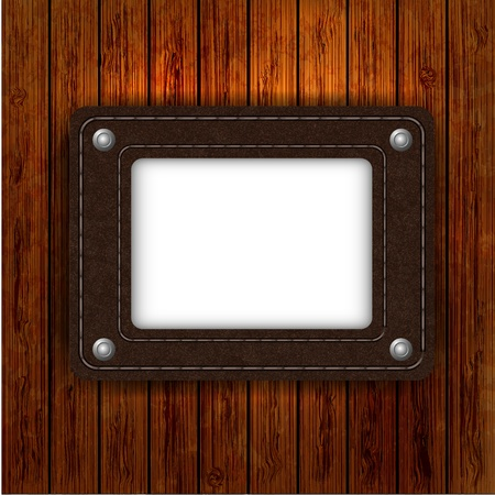 leather element on wooden boards with place for your text. illustration