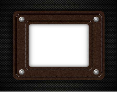 leather element on metal background with place for your text. illustration Stock Vector - 12231727
