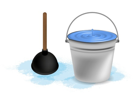 the leak: bucket of water with plunger. illustration