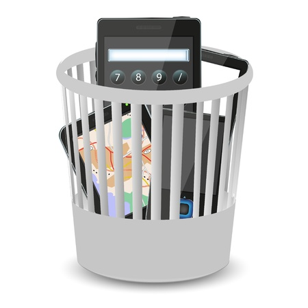 phones and computer tablet in the bin. illustration Stock Vector - 12231776