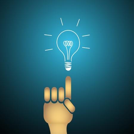 bulb light idea with finger.  Stock Vector - 12231802