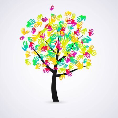 familia en jardin: resumen de antecedentes. Colorida ilustraci�n.