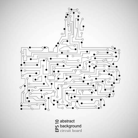 Vector circuit board thumb up. Abstract background Vector