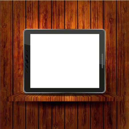 Vector computer tablet on wooden shelves. Stock Vector - 12494945