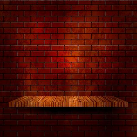 etagere murale: Plateau en bois avec mur de briques. Vector illustration