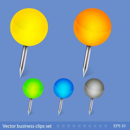 thumbtack: Vector business clips set. Easy to edit Illustration