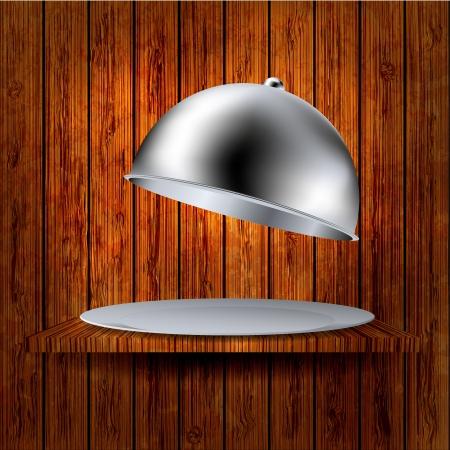 maderas: vector abierto la bandeja en el estante de madera. f�cil de editar Vectores