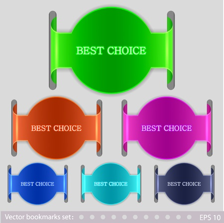 Vector bookmarks set. 6 colors. Easy to edit Vector