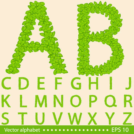 Concept alphabet with creative green leaves. Vector illustration. Eps 10
