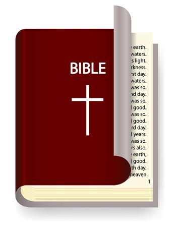 Vector Heilige Bijbel op wit wordt geïsoleerd