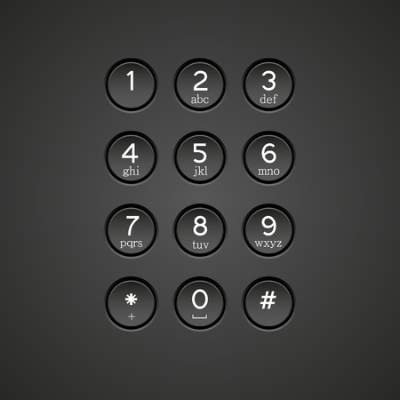 number button: Vector phone keypad background Illustration
