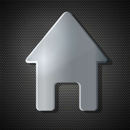Vector house on metal background. Eps10