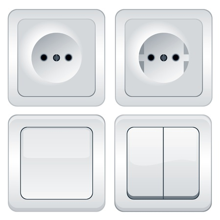 Vector sockets and switches isolated on white Vector