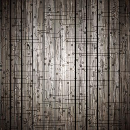 Vector circuit on wood. Eps10 Stock Vector - 12763446