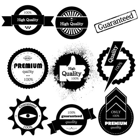Vector set of high quality or retro  guaranteed label Vector