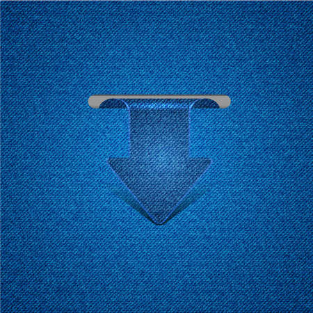Vector concept arrow bookmark with jeans texture. Eps10 Vector
