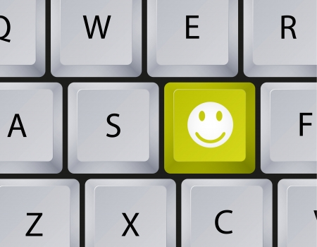 Vector keyboard with smiley button. Eps10 Vector