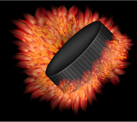 Vector hockey puck with fire. Vector