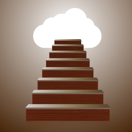 Vector concept wooden ladder with computer cloud.  Vector