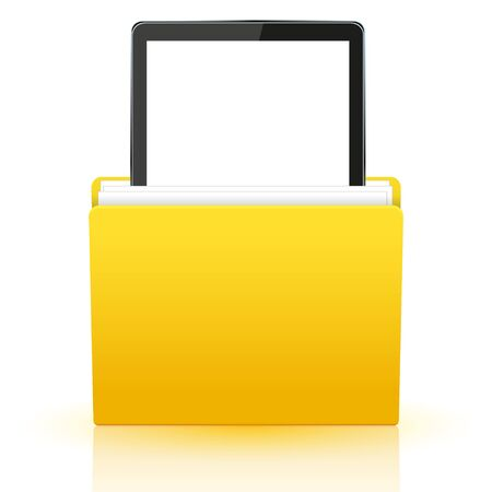 i pad: Vector computer tablet in yellow folder.