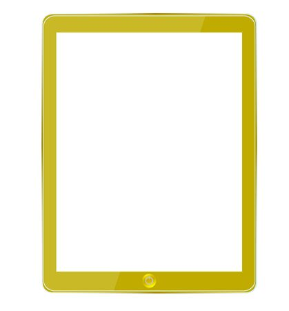Vector gold computer tablet isolated on white Stock Vector - 12964496
