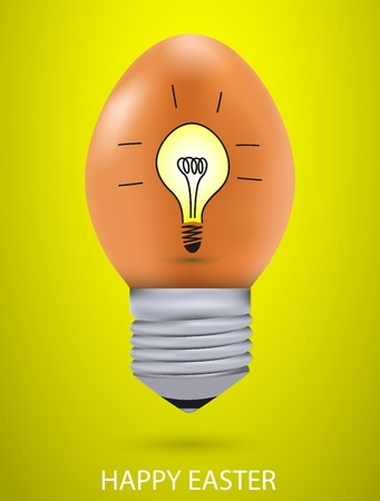 Vector concept easter egg with light bulb.  Vector