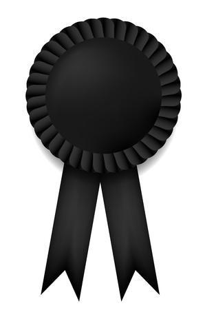 degrees: Vector black ribbon award isolated on white. Eps10 Illustration