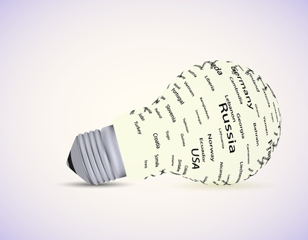electro world: Vector bulb light idea with country. Eps10 Illustration