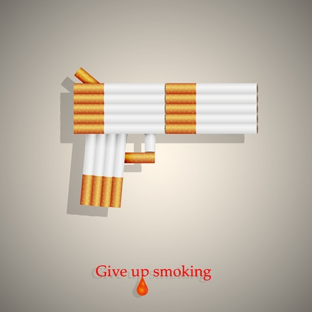 undesirable: the concept of a gun from cigarettes. Vector illustration. Eps10