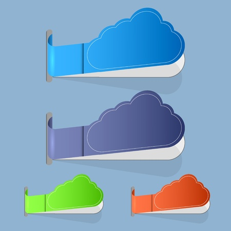 Vector computer cloud label on blue background. Vector