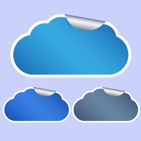 Vector computer cloud stickers on blue background.  Vector