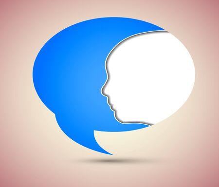 Vector concept face and bubble speech. Stock Vector - 13595034