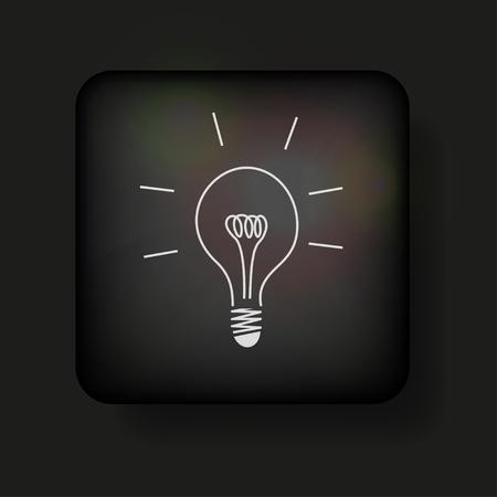 Vector light bulb icon on black. Vector
