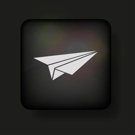 vector origami vliegtuig-pictogram op zwart.