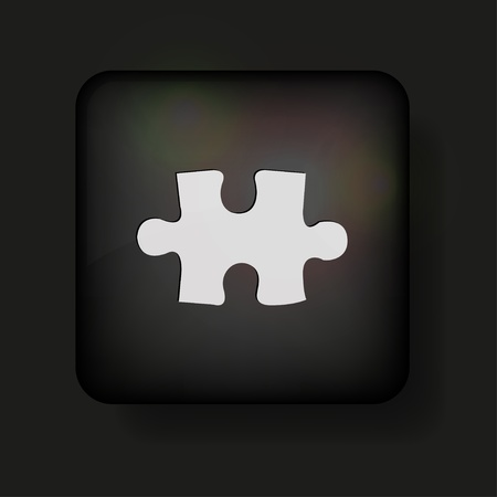 Vector puzzle icon on black. Stock Vector - 13595043