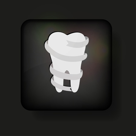 Vector tooth icon on black.  Vector