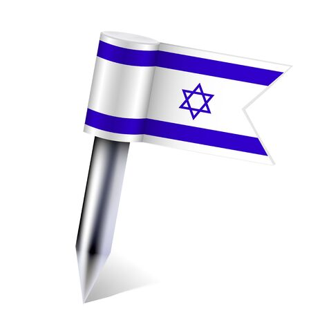 Vector Israel flag isolated on white.  Vector