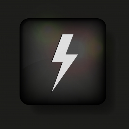 Vector lightning bolt icon on black.  Vector