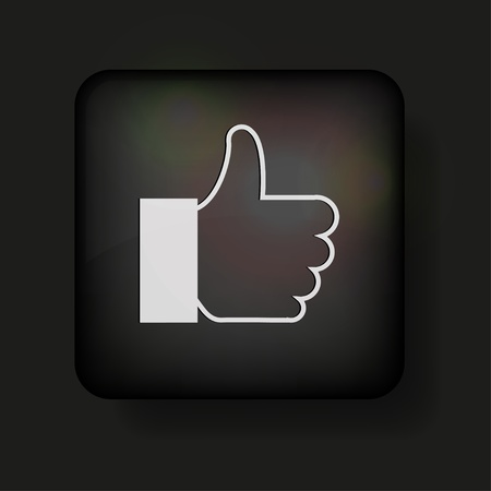 thumbs up icon: Vector thumbs up icon on black.