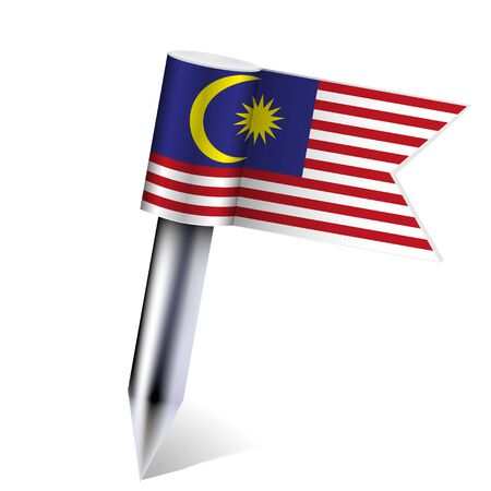 Malaysia flag isolated on white.