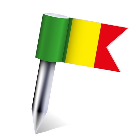 Mali flag isolated on white  Vector