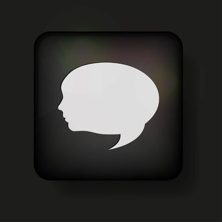 family discussion: face bubble speech icon on black. Illustration
