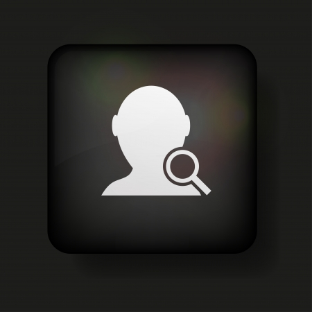 one person: search friend icon on black.  Illustration