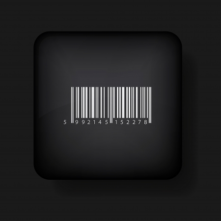 bar code icon on black. Stock Vector - 13698432