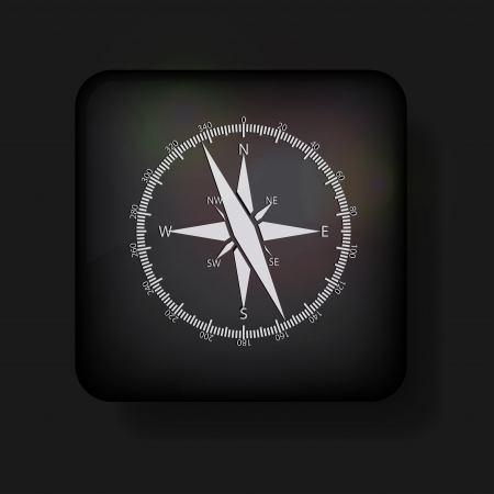 compass icon on black.  Stock Vector - 13698450