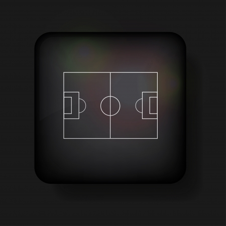 football field icon on black. Vector