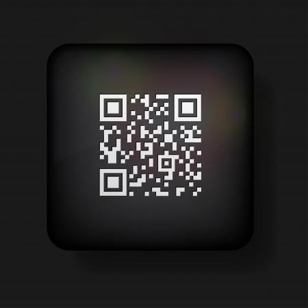 qr: qr code icon on black.  Illustration