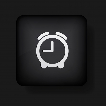 alarm clock icon on black. Stock Vector - 13698414