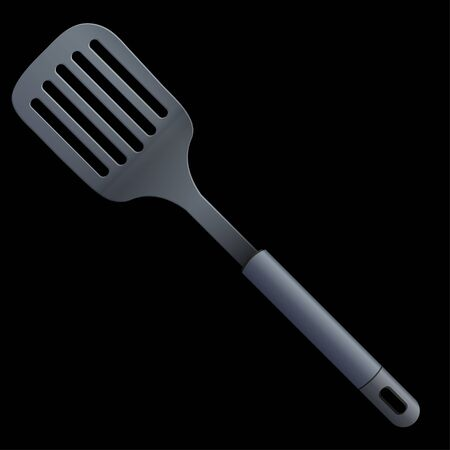 slotted: slotted kitchen spoon isolated on a black background Illustration