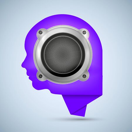 Concept face and bubble speech with speaker. Vector